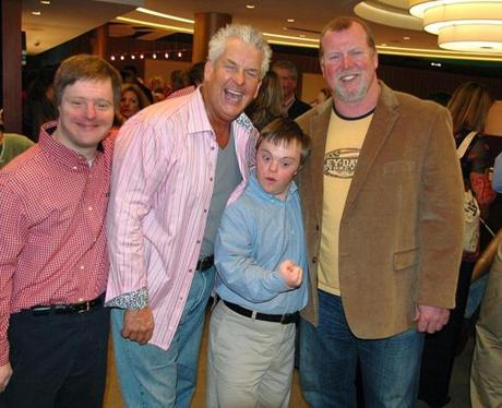 Steve DeOssie, right, with Michael Goodhue, comedian Lenny Clarke, and Peter Johnson at a 2008 charity event.